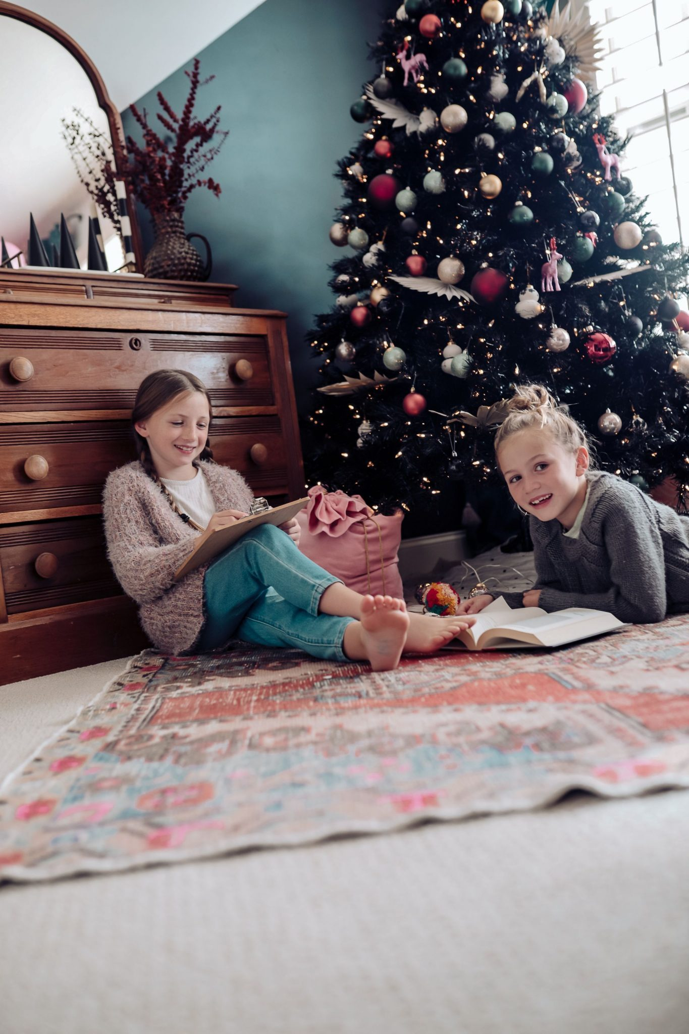 Kids playing on carpet during the holidays